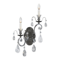 Schonbek Lighting - Schonbek Lighting 3558-47CL Renaissance Antique Pewter Rock Wall Sconce - 2 Bulbs, Bulb Type: 60 Watt Incandescent; Product made-to-order, 6-8 week lead time