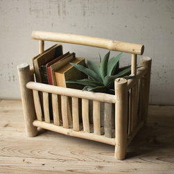 Bamboo 'Zine Rack - We love the artisanal quality of this magazine rack. Made from bamboo wood, it has an earthy, organic feel that would look great with any style of décor. Use it to hold magazines or shower products in your bathroom.