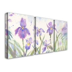 Trademark Art - Sheila Golden June Iris - 3 Panel Art Set - Gallery Wrapped Canvas Art. Canvas wraps around the sides and is secured to the back of the wooden frame. Frameless presentation of the finished painting. 16 in. L x 24 in. W x 2 in. D (36 lbs.)