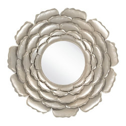 Surya - Surya Posey Wall Mirror - 32W x 32H in. - MRR1019-3232 - Shop for Mirrors from Hayneedle.com! As much art as it is a functional looking glass the Surya Posey Wall Mirror - 32W x 32H in. makes a beautiful addition to your sitting room day room or floral-patterned decor. This wall mirror weighs just fewer than 10 lbs. and is supported by durable D-rings hangers. The round mirror center features a beveled edge and is surrounded by five layers of posey petals crafted from sturdy solid metal. Choose your ideal finish.About SuryaSince 1976 Surya has established itself as one of India's leading producers of fine rugs and home goods. Their products are sold in the U.S.A. at respected department and specialty stores. The company is known for its quality value dedication and innovation. This includes responsibility for the entire process of creating home decor - spinning dyeing weaving and finishing. Surya prides itself on using the best raw material available for the production of their rugs throws and decor items. They are proud members of Wools of New Zealand. From design concept through production a Surya family member is involved making sure that the highest standards are being met at each level. Surya works with top designers and constantly updates their designs and color palettes to match and set the trends in design and fashion for the home. Surya always means a fine choice.