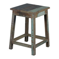 "Square Rustic Reclaimed Wood 18"" Pedestal End Table Stool - This rustic cabin style four legged stool is a versatile piece of furniture you'll enjoy everywhere. It can be used as an end table, a plant stand, a pedestal, bedside table/chair, working seat, or stool."