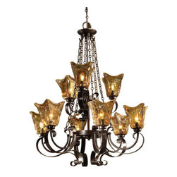 Uttermost - Uttermost 21005 9 Light 2 Tier Chandelier with Handmade Glass Shades from the Ve - Uttermost 21005 Carolyn Kinder Vetraio 9-Lt ChandelierHeavy hand made glass is held in classic European iron works giving these pieces a contemporary quality, with strong traditional appeal as well.Features: