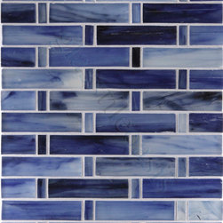"Glass Tile Oasis - Shore 1"" x 4"" Blue Pool Frosted Glass - Sheet size:  9 5/8"" x 12 3/4"" Approx .80 Sq. Ft.        Tile Size:  1/2"" x 1"" & 1"" x 4""        Tiles per sheet:  48        Tile thickness:  1/4""        Grout Joints:  1/8""        Recycled Components:  70%        Sheet Mount:  Paper Face     Sold by the sheet     -"