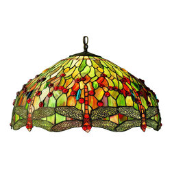 Meyda - 22 Inch Width Hanging head Dragonfly Pendant Ceiling Fixture - Color theme: 59 Orange Flame
