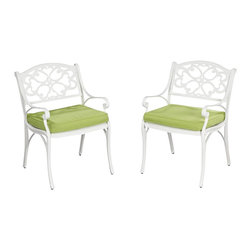 Home Styles - Home Styles Biscayne Arm Chair with Cushion in White Finish (Set of 2) - Home Styles - Outdoor Chairs - 5552802C - Home Styles Biscayne Arm Chair is constructed of cast aluminum with a White finish and Sunbrella  Green Apple fabric Cushions. Features include powder coat finish sealed with a clear coat to protect finish and nylon glides on all legs.  Chairs are packed two per carton. Item Size: 22.83w 21.65d 32.68h.  Seat height 15.5h.  Stainless steel hardware.