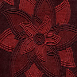 Delhi DL-40 Red Rug - 5'x8' - Delhi is exquisitely hand tufted and hand carved by master craftsmen. Made in India of 100% wool, the simplicity, elegance, and beauty of this fine collection is truly unique.