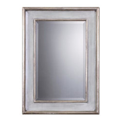 """Uttermost - Uttermost Undefined Decorative Mirror in Wood - Shown in picture: This wood frame features a hand rubbed sky blue finish with ivory undertones and lightly antiqued silver leaf details. Mirror has a generous 1 1/4"""" bevel. May be hung horizontal or vertical.  MATERIAL: WOOD+MIRROR"""