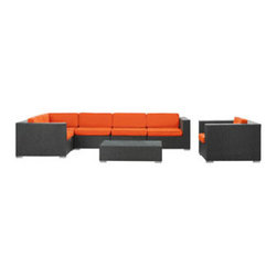 """LexMod - Corona 7 Piece Outdoor Patio Sectional Set in Espresso Orange - Corona 7 Piece Outdoor Patio Sectional Set in Espresso Orange - Stages of sensitivity flow naturally with Corona's robust seating experience. Find meaning among cliffs and caverns as you become the agent of influence in the espresso rattan base and all-weather orange fabric cushion repast. Open yourself to splendorous insights as you impart positivity among friends and family. Set Includes: One - Corona Outdoor Wicker Patio Armchair One - Corona Outdoor Wicker Patio Coffee Table One - Corona Outdoor Wicker Patio Corner Section One - Corona Outdoor Wicker Patio Left End Section One - Corona Outdoor Wicker Patio Right End Section Two - Corona Outdoor Wicker Patio Armless Sections Synthetic Rattan Weave, Powder Coated Aluminum Frame, Water & UV Resistant, Machine Washable Cushion Covers, Easy To Clean Tempered Glass Top, Ships Pre-Assembled Coffee Table Dimensions: 43""""L x 24""""W x 12""""H Armless Section Dimensions: 29""""L x 35""""W x 25""""H Armchair Dimensions: 35""""L x 35""""W x 25""""H Left End Section Dimensions: 35""""L x 35""""W x 25""""H Right End Section Dimensions: 35""""L x 35""""W x 25""""H Corner Section Dimensions: 35""""L x 35""""W x 25""""H Seat Height: 12""""HBACKrest Height: 25""""H Armrest Dimensions: 6""""W x 25""""H Cushion Depth: 4""""H Overall Product Dimensions: 128""""L x 70""""W x 25""""H - Mid Century Modern Furniture."""