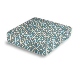Aqua Modern Trellis Box Floor Pillow - Extra seating that is so good looking you won't want to store it away.  Our Box Floor Pillow is perfect for your next coffee table dinner party, fire place snuggle session, or playroom sleepover.  We love it in this rounded trellis in dark aqua & white on soft lightweight line. your gateway to a chic modern look.