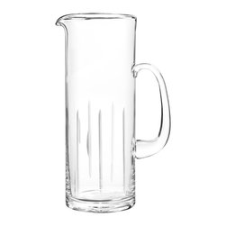 Qualia - Dusk Pitcher - A cylinder shape and simple line pattern give this Dusk Pitcher its transitional look. Featuring clear glass with cut vertical lines, this pitcher is understated and elegant. Use it to hold and pour your favorite beverages at a party or family dinner.