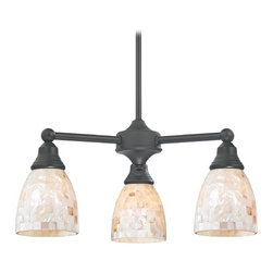 Design Classics Lighting - Mini-Chandelier with Mosaic Glass Shades in Matte Black Finish - 598-07 GL1026MB - Transitional matte black 3-light chandelier. Takes (3) 100-watt incandescent A19 bulb(s). Bulb(s) sold separately. Dry location rated.