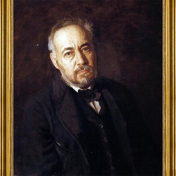 """Thomas Eakins-16""""x20"""" Framed Canvas - 16"""" x 20"""" Thomas Eakins Self Portrait framed premium canvas print reproduced to meet museum quality standards. Our museum quality canvas prints are produced using high-precision print technology for a more accurate reproduction printed on high quality canvas with fade-resistant, archival inks. Our progressive business model allows us to offer works of art to you at the best wholesale pricing, significantly less than art gallery prices, affordable to all. This artwork is hand stretched onto wooden stretcher bars, then mounted into our 3"""" wide gold finish frame with black panel by one of our expert framers. Our framed canvas print comes with hardware, ready to hang on your wall.  We present a comprehensive collection of exceptional canvas art reproductions by Thomas Eakins."""