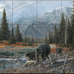 The Tile Mural Store (USA) - Tile Mural - Black Bear Bend - Cm - Kitchen Backsplash Ideas - This beautiful artwork by Carolyn Mock has been digitally reproduced for tiles and depicts a black bear and her cubs.  A bear tile mural would be perfect as a part of your kitchen backsplash tile project or your tub and shower surround bathroom tile project. Bear images on tile make a great kitchen backsplash idea and are excellent to use in the bathroom too for your shower tile project. Consider a tile mural with bear pictures for any room in your home where you want to add wall tile with interest.