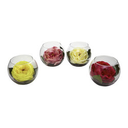 Nearly Natural - Nearly Natural Rose with Bubble Vase (Set of 4) - Roses are easily one of nature's best flowers. And why not - just look at the intricate, full blooms that have fascinated people for centuries. These beautiful silk recreations capture rose blooms in full glory, nestled amongst green leaves in a snug bubble vase. These little delights will brighten any home or office area, and make a great gift as well.