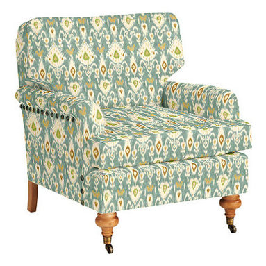 Travis Club Chair With Antique Brass Nailheads, Balboa Ikat - I'm using this pretty ikat fabric for drapes in my living room and could get a chair to match if I wanted one.