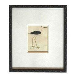 """Pre-owned Framed Stilt Shorebird Book Plate - Down by the sea shore. Is winter over? We are dreaming of the ocean breeze and painted sunsets. This """"Stilt"""" Shorebird Book Plate is framed with Black Romo Frame and a Linen Mat. Measures 12"""" x 13.5"""" x 1"""""""