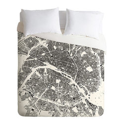 City Center Duvet Cover - Put your love of Paris of full display with this striking City Center Duvet Cover. The black and white design shows a map of the City of Lights with the Seine carving through the center. This lightweight duvet is machine washable and easy to use with a hidden zipper and interior ties that make securing an insert easy as can be.