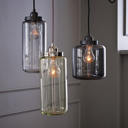 Glass Jar Pendants - These jar pendant lights look like they came from a chemistry lab, and they would look great in the kitchen — perhaps over a scrubbed wood table?