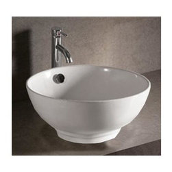 Whitehaus - Isabella Round Sink w Center Drain - Faucet not included. Above mount with overflow. Made from porcelain. White color. Inside: 16.5 in. Dia. x 6 in. H. Overall: 16.87 in. Dia. x 7.63 in. H (18 lbs.). Warranty