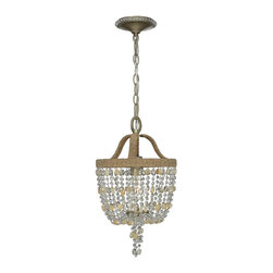 Crystorama - Eva 1 Light Chandelier - Eva is a free spirit of our lighting collections. As all-natural beauty wrapped in jute and adorned with strands of golden rock crystal or natural wooden beads. Finished in burnished silver, which mimics the look of silver foiled over gold.