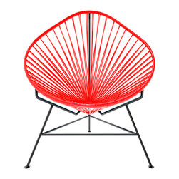 Acapulco Chair, Red Weave On Black Frame - The Acapulco Chair - contemporary lounge or occasional chair suitable for indoors and out.  Composed of a tripod metal base and seat woven with vinyl cord. The Acapulco chair is similar in construction and form to our Innit chair though slightly more reclined with a pear shaped frame.  The galvanized steel is rust resistant and the very durable yet flexible, UV protected vinyl will stay colorfast for years.  This chair is incredibly comfortable without a cushion.  Its weatherproof, breathable, easy to clean, and available in everybodys favorite color. *Please refer to swatch image for accurate product color variations.