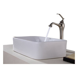 Kraus - Kraus White Rectangular Ceramic Sink and Ventus Faucet Brushed Nickel - *Add a touch of elegance to your bathroom with a ceramic sink combo from Kraus