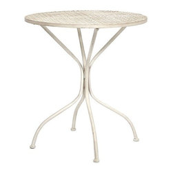 """IMAX - Yates Iron Bistro Table - Imagine indulging in a warm cup of coffee at the corner sidewalk cafe or a warm afternoon at the bakery for a sweet treat! This bistro table adds personality to any location with its iron design. Item Dimensions: (30""""h x 27.5""""w x 27.5"""")"""