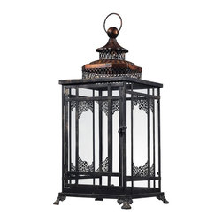 Sterling Industries - Black And Gold Hurricane Lantern - Black And Gold Hurricane Lantern