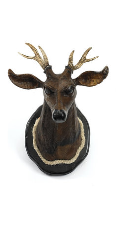 Go Home - Montana Wood Deer Trophy - We love the unexpected quality of this handsome noble trophy! This mounted buck would be stunning in your library, entry way, over a mantel or your lodge style bed! This mounted buck is artfully crafted from hand carved and polished wood and beautifully reflects light.