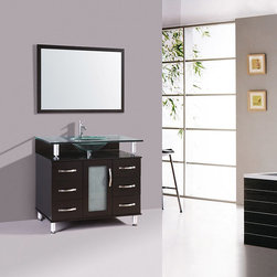 Kokols - Kokols Modern Bathroom 32-inch Vanity Cabinet Set - With an impeccable style this modern bathroom vanity cabinet set from Kokols features a gorgeous mirror with wood frame to update your bathroom decor. The vanity cabinet set also features the contemporary faucet in silver nickel.