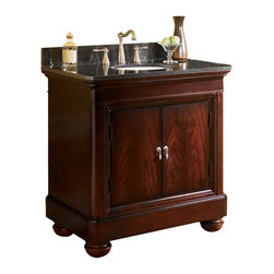 Kaco International Inc. - Kaco Mount Vernon Vanity - This Mount Vernon vanity has a traditional and prominent design with a bold Sherwin Williams Merlot Finish. The Mount Vernon  vanities are manufactured to the highest furniture grade status and have matching mirrors, vanity tops and linen closets available. The Mount Vernon series of vanities include a finished interior pull out drawer and hardwood shelf.