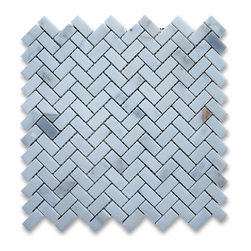 """Stone Center Corp - Calacatta Gold Marble Herringbone Mosaic Tile 5/8 x 1 1/4 Polished - Calacatta gold marble 5/8"""" x 1 1/4"""" pieces mounted on 12"""" x 12"""" sturdy mesh tile sheet"""