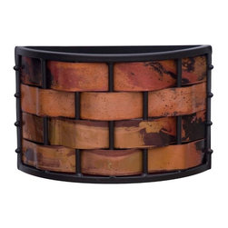 Stone County Ironworks - Rushton Copper Wall Sconce (Natural Black) - Finish: Natural Black. Hand fired copper strips woven. Made from iron. Weight: 7 lbs.