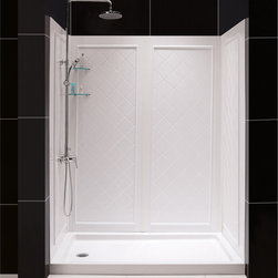 BathAuthority LLC dba Dreamline - SlimLine Single Threshold Shower Base & QWALL-5 Shower Backwalls Kit - DreamLine™ combines a SlimLine™ shower base with coordinating shower backwall panels to create a convenient kit that can transform a shower space. The SlimLine shower base incorporates a low profile design for a sleek modern look. The wall panels have a tile pattern and are easy to install with a trim-to-size fit. Both the shower panels and shower base are made from durable and attractive Acrylic/ABS advanced materials. DreamLine kits offer an ideal solution for any bathroom renovation project.
