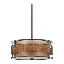 Quoizel Lighting - Quoizel MC842CRC Laguna 3 Light Pendant, Renaissance Copper - Long Description: This mica piece is an addition to the Quoizel Naturals collection and features a mosaic tile stripe, which appears to be floating around a taupe mica shade. The tiles have a coppery shimmer for an added touch of elegance. It provides a warm and inviting accent for most any home.
