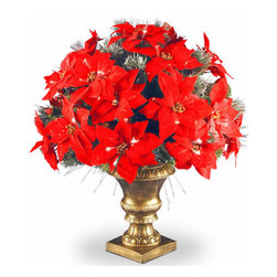 26 In. Fiber Optic Spruce Christmas Bush w/ Glitter & Poinsettia - Measures 26 inch high with a 19 inch diameter. Trimmed with poinsettia flowers, red berries and silver bristle. For indoor use only. Tip count: 72. Single bulb operation from base. Gold column base. Includes AC adapter.