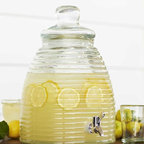 """Viva Terra - Beehive Drink Dipenser - Sweeter than honey is the ribbed beehive contour of our recycled-glass dispenser; bigger than big is its 2.5-gallon capacity.  10""""DIAM x 14.5""""H"""