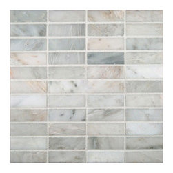 """Marbleville - Arabescato Carrara 1"""" x 3"""" Honed Marble Mosaic in 12"""" x 12"""" Sheet - Premium Grade Arabescato Carrara 1"""" x 3"""" Honed Finish Mesh-Mounted is a splendid Tile to add to your decor. Its aesthetically pleasing look can add great value to any ambience. This Mosaic Tile is made from selected natural stone material. The tile is manufactured to high standard, each tile is hand selected to ensure quality. It is perfect for any interior projects such as kitchen backsplash, bathroom flooring, shower surround, dining room, entryway, corridor, balcony, spa, pool, etc."""