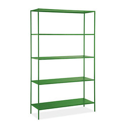 Slim Étagère, Green - The thin lines of this shelf make the bright color a little more subtle.