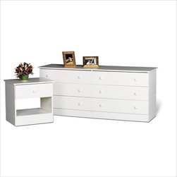 Prepac - Prepac White 6-Drawer Double Dresser in White - Prepac - Dressers - WHD58286K - The always popular six-drawer dresser design is the standard for any bedroom providing plenty of clothing storage and a large surface area for perfume toiletries photographs and decorative items. Simple and effective the Prepac Six Drawer Dresser will add functionality to your decor.