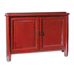 Uttermost - Altair Red Console Cabinet - Antiqued vermilion red paint finish, heavily distressed by hand with a soft glossy luster. Solid poplar construction with adjustable shelf.