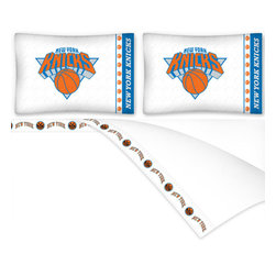 Sports Coverage - NBA New York Knicks Basketball Full Bed Sheet Set - Features: