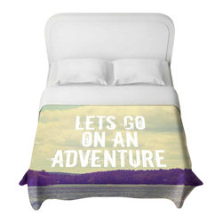 DiaNoche Designs - Lets Go on An Adventure Duvet Cover - Lightweight and super soft brushed twill duvet cover sizes twin, queen, king. Cotton poly blend. Ties in each corner to secure insert. Blanket insert or comforter slides comfortably into duvet cover with zipper closure to hold blanket inside. Blanket not included. Dye Sublimation printing adheres the ink to the material for long life and durability. Printed top, khaki colored bottom. Machine washable. Product may vary slightly from image.