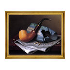 """William Michael Harnett-18""""x24"""" Framed Canvas - 18"""" x 24"""" William Michael Harnett Still Life with Pipe, Newspaper and Tobacco Pouch framed premium canvas print reproduced to meet museum quality standards. Our museum quality canvas prints are produced using high-precision print technology for a more accurate reproduction printed on high quality canvas with fade-resistant, archival inks. Our progressive business model allows us to offer works of art to you at the best wholesale pricing, significantly less than art gallery prices, affordable to all. This artwork is hand stretched onto wooden stretcher bars, then mounted into our 3"""" wide gold finish frame with black panel by one of our expert framers. Our framed canvas print comes with hardware, ready to hang on your wall.  We present a comprehensive collection of exceptional canvas art reproductions by William Michael Harnett."""
