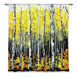 "DiaNoche Designs - Window Curtains Unlined - Aja-Ann Fall Aspens - DiaNoche Designs works with artists from around the world to print their stunning works to many unique home decor items.  Purchasing window curtains just got easier and better! Create a designer look to any of your living spaces with our decorative and unique ""Unlined Window Curtains."" Perfect for the living room, dining room or bedroom, these artistic curtains are an easy and inexpensive way to add color and style when decorating your home.  The art is printed to a polyester fabric that softly filters outside light and creates a privacy barrier.  Watch the art brighten in the sunlight!  Each package includes two easy-to-hang, 3 inch diameter pole-pocket curtain panels.  The width listed is the total measurement of the two panels.  Curtain rod sold separately. Easy care, machine wash cold, tumble dry low, iron low if needed.  Printed in the USA."