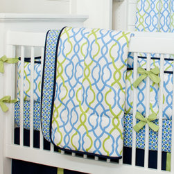 Navy Waves Crib Comforter - Front of comforter features Make Waves, backed with Blue and Green Windowpane, and edged with Solid Navy trim.