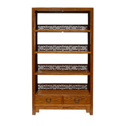 Golden Lotus - Chinese Old Solid Wood Happiness Carving Display Cabinet Book Shelf - You are looking at a Chinese handmade old solid elm wood book shelf. This book shelf has charming natural light brown color. There are 4 shelves and two drawers at the bottom.