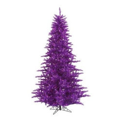 Vickerman Purple Fir Pre- Lit Christmas Tree - The Vickerman Purple Fir Pre-lit Christmas Tree is a crisp purple fir tree that boasts a variety of features to make your holiday special. The tree features PVC tips with hinged branch construction, as well as an on/off foot pedal switch for your convenience.Specifications for 12-foot tree Shape: Medium Base Width: 82 inches Number of Bulbs: 1650 Number of Tips: 4631Specifications for 10-foot tree Shape: Medium Base Width: 68 inches Number of Bulbs: 1150 Number of Tips: 2980Specifications for 9-foot tree Shape: Medium Base Width: 64 inches Number of Bulbs: 1000 Number of Tips: 2326Specifications for 7.5-foot tree Shape: Medium Base Width: 52 inches Number of Bulbs: 750 Number of Tips: 1634Specifications for 6.5-foot tree Shape: Medium Base Width: 46 inches Number of Bulbs: 600 Number of Tips: 1216Specifications for 5.5-foot tree Shape: Medium Base Width: 34 inches Number of Bulbs: 400 Number of Tips: 794Specifications for 4.5-foot tree Shape: Medium Base Width: 34 inches Number of Bulbs: 250 Number of Tips: 525 Specifications for 3-foot tree Shape: Medium Base Width: 25 inches Number of Bulbs: 100 Number of Tips: 234Don't Forget to Fluff!Simply start at the top and work in a spiral motion down the tree. For best results, you'll want to start from the inside and work out, making sure to touch every branch, positioning them up and down in a variety of ways, checking for any open spaces as you go.As you work your way down, the spiral motion will ensure that you won't have any gaps. And by touching every branch you'll create the desired full, natural look.About VickermanThis product is proudly made by Vickerman a leader in high quality holiday decor. Founded in 1940, the Vickerman Company has established itself as an innovative company dedicated to exceeding the expectations of their customers. With a wide variety of remarkably realistic looking foliage, greenery and beautiful trees, Vickerman is a name you can trust for he
