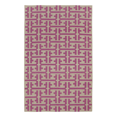"""The Greek rug in Dark Blush - """"Classic and timeless, I wanted to take the Greek key beyond a border into an all over pattern. The color palette takes the ancient into today and style plays nicely with The Greek."""" - Genevieve Gorder"""