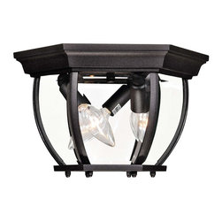 """Savoy House Lighting - Savoy House Lighting Traditional 12"""" Outdoor Flush Mount Ceiling Light X-KB-9307 - Create an old-fashioned elegance in a stylish frame for your outdoor application by using the Savoy House Lighting Outdoor flush mount ceiling light. Choose from flat black or bronze finish to complement the existing decors. The clear beveled glass in a geometric shaped panel produces bright illumination for wide range of exposure."""